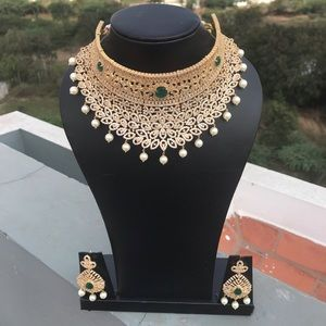 Jewelry - Bridal Wedding Emerald and Diamond Necklace Set